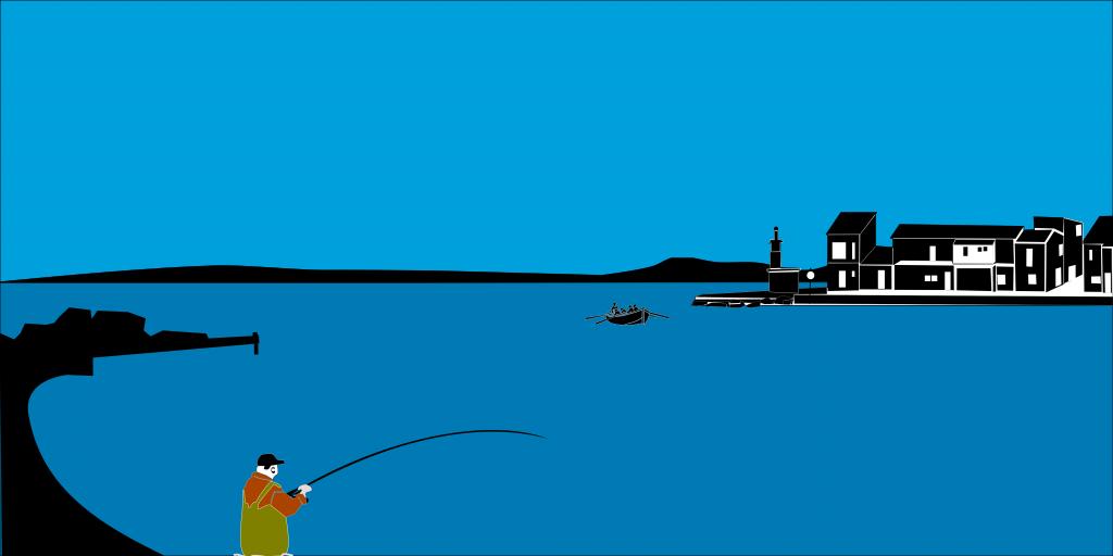 pêcheur de dorade à la plagette